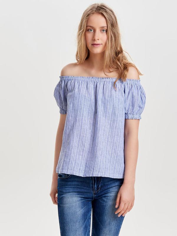 Блуза топ в полоску по плечам