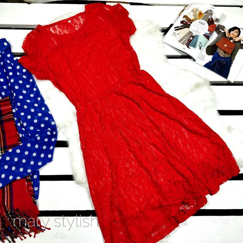 Гипюровое красное платье идеальное на праздник