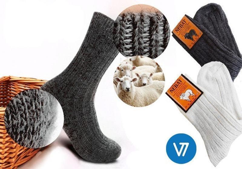 Носки из 100% овечьей шерсти серого или белого цвета nebat (же...