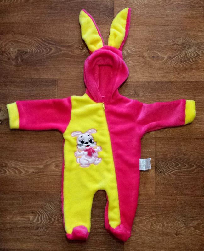 """Человечек для новорождённого махровый """"зайчик"""", размер 62-40"""