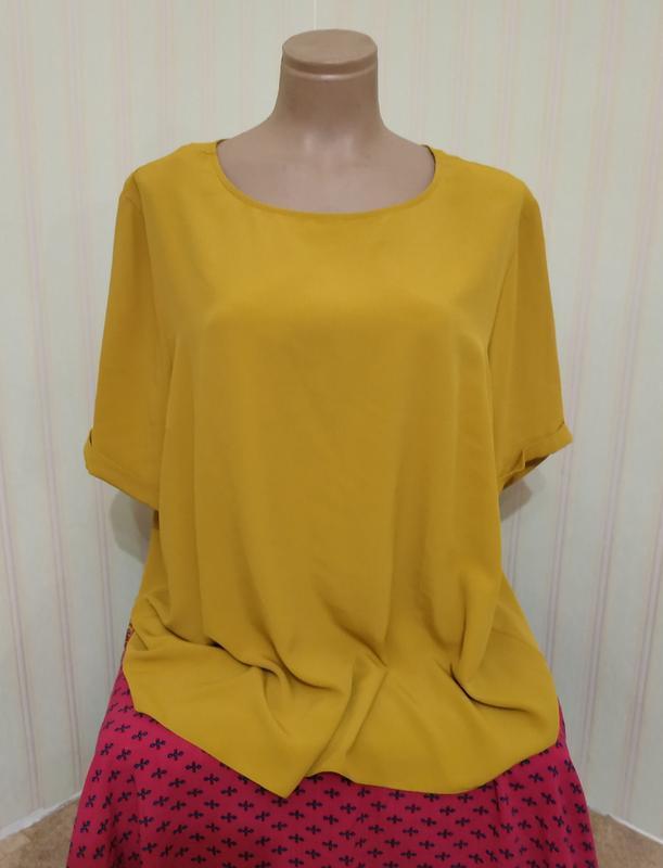 Новая нарядная горчичная блузка большого размера