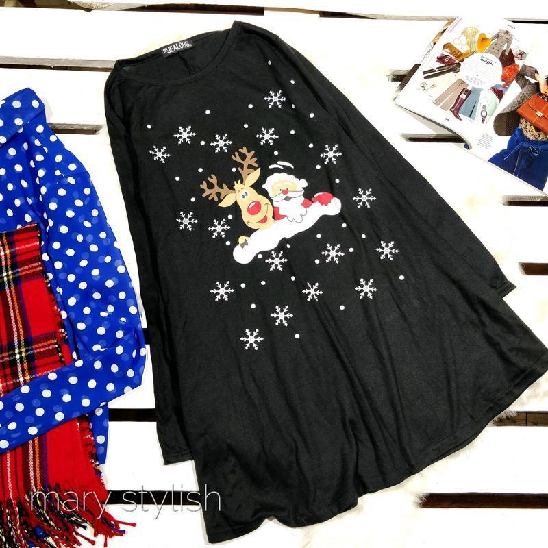 Чёрное платье туника новогоднее
