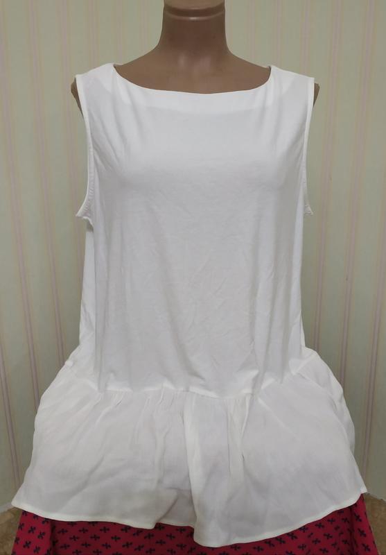Новая трикотажная белая блузка-туника большого размера