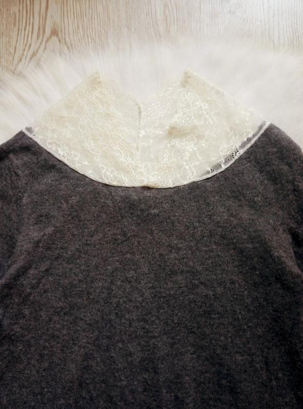 Серый шерстяной свитер вязаная кофта с ажурным воротником гипю...