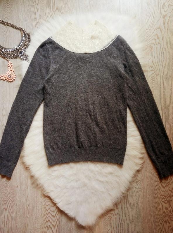 Серый шерстяной свитер вязаная кофта с ажурным воротником гипю... - Фото 2