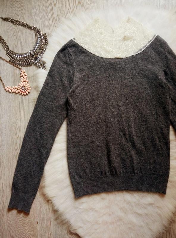 Серый шерстяной свитер вязаная кофта с ажурным воротником гипю... - Фото 3