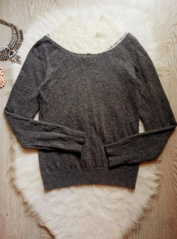 Серый шерстяной свитер вязаная кофта с ажурным воротником гипю... - Фото 4