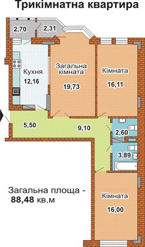 3-х квартира 95м 5этаж , в жилом комплексе Коперника 3 - Фото 5