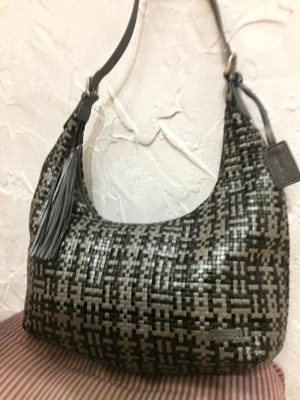 Louvier paris шикарная плетёная  сумка 100% кожа