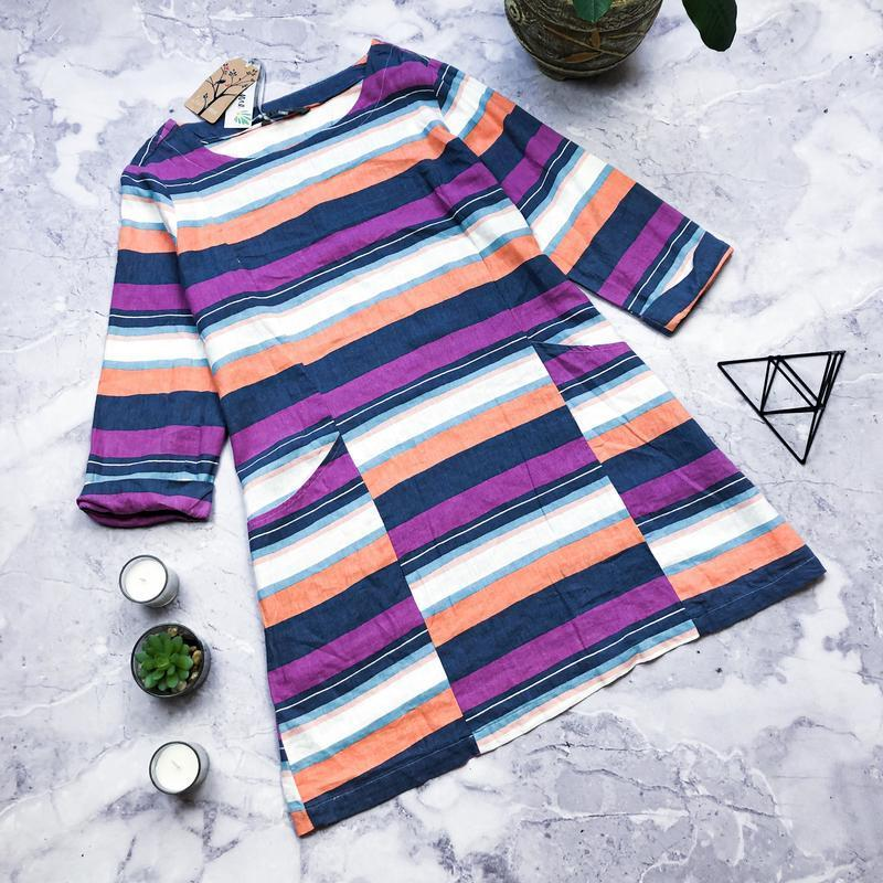 100%лен! стильная натуральная туника платье в полоску lily garden