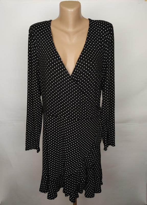 Платье стильное в горошек на запах большой размер new look uk ...