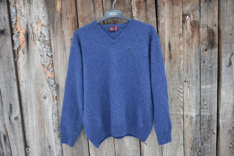 Kappa оригинал мужской пуловер свитер легкий шерстяной синий р...