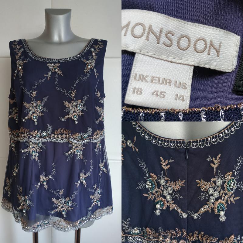 Красивая и нарядная блуза, топ monsoon с вышивкой и жемчугом