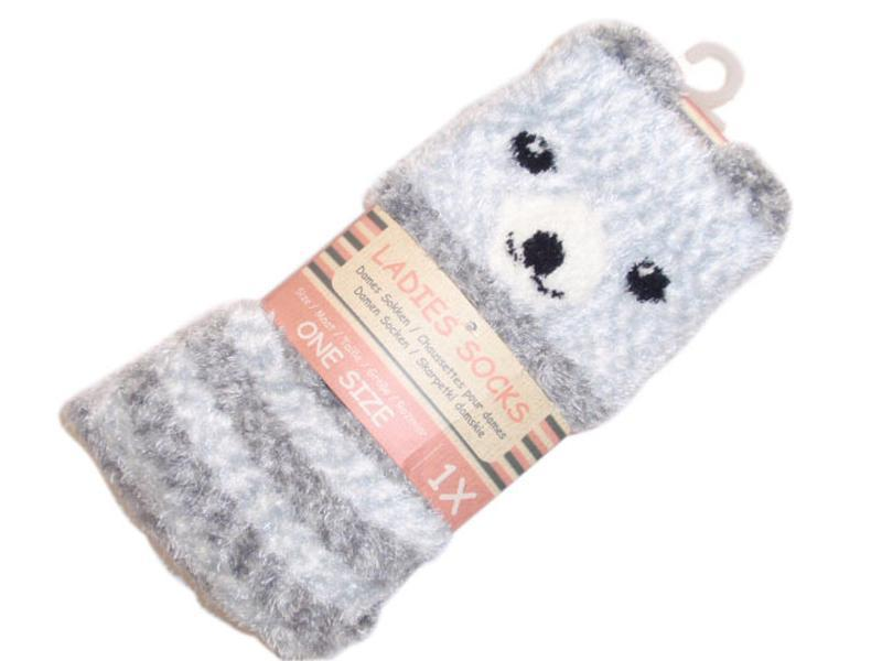 Пушистые мягкие теплые домашние носки с тормозками плюшевые тр...