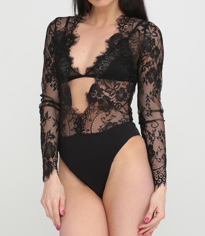 Сексуальная кружевная блуза боди asos с глубоким декольте