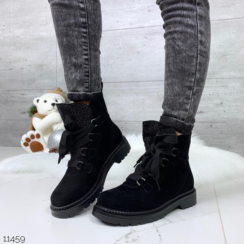 Зимние замшевые ботинки на низком ходу, стильные ботинки на меху