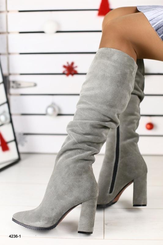 Lux обувь! натуральные зимние замшевые высокие сапоги на устой...