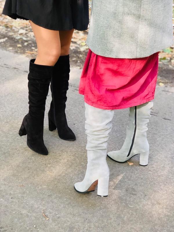 Lux обувь! натуральные зимние высокие замшевые сапоги