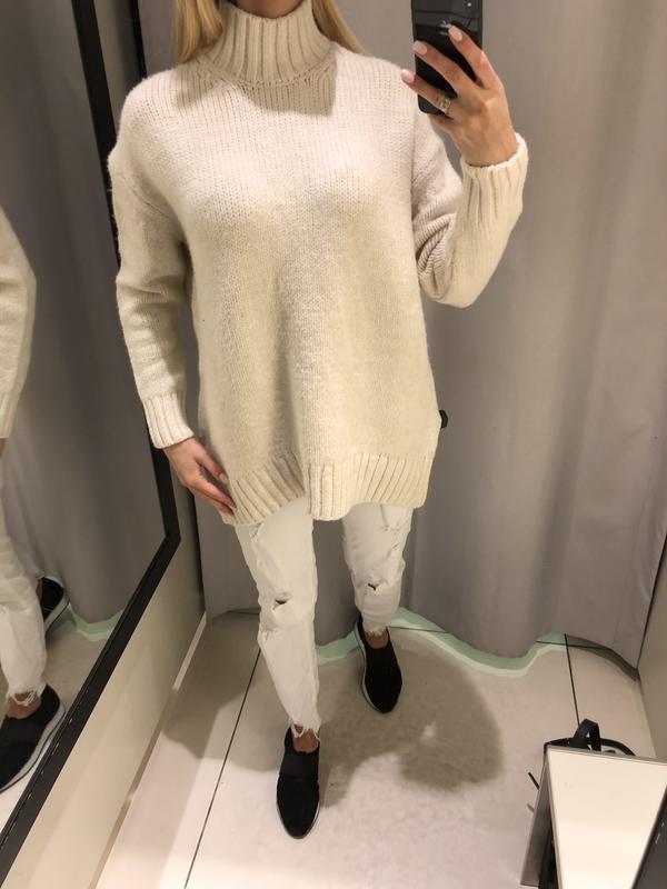 Удлинённый свитер с горлом свитерок оверсайз. reserved. размер...