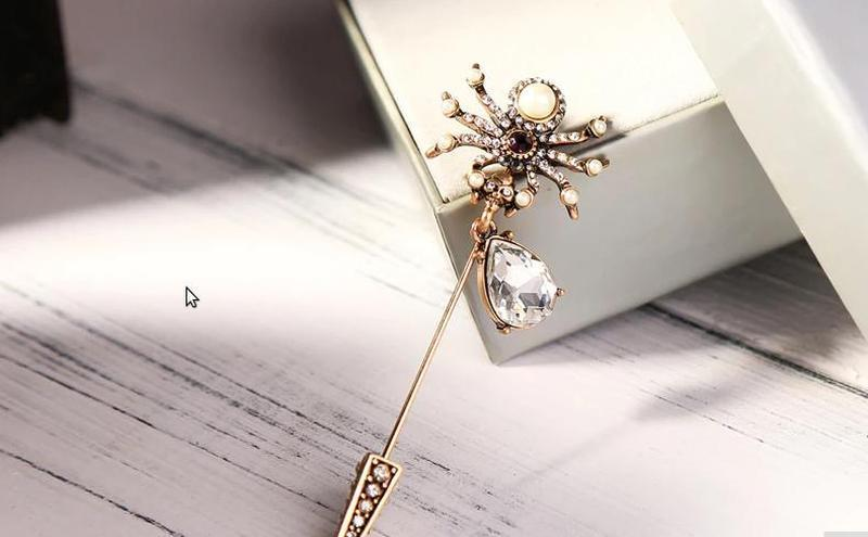 Cтильная брошь паук с австр. кристаллами и жемчугом
