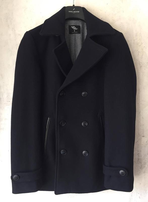 Стильное, мужское, двубортное пальто, шерстяное, тёплое, cedar...