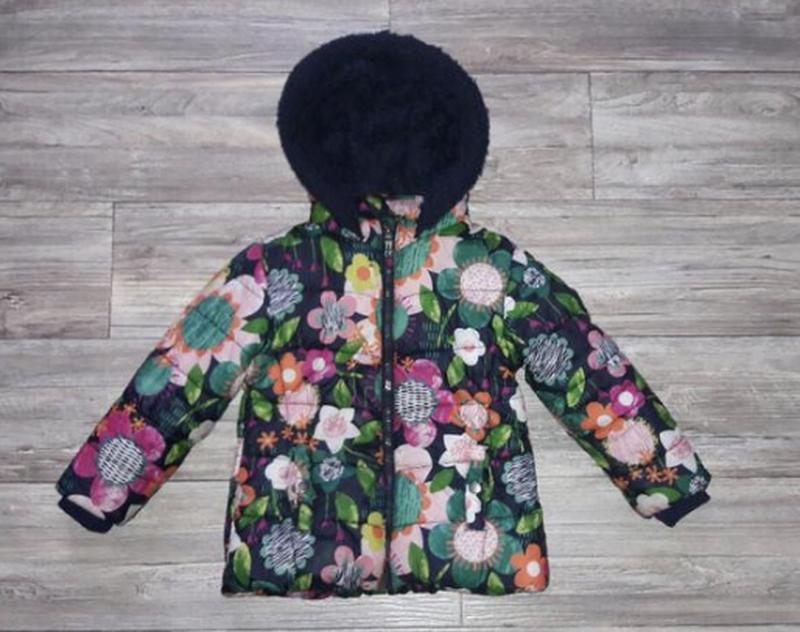 Куртка синтепон тёплая цветы яркая флис от george
