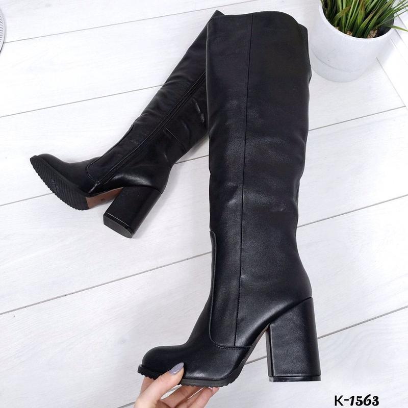 ❤️классические высокие кожаные зимние сапоги на каблуке ❤️