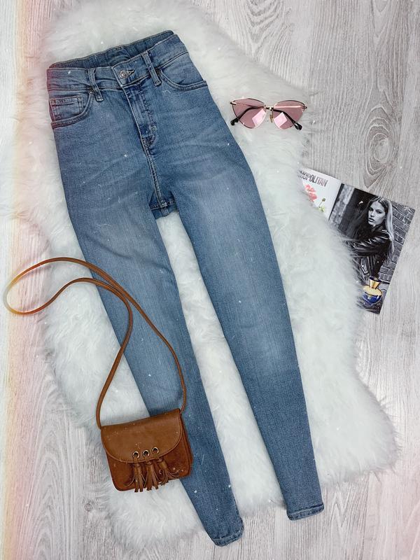 🌿 голубые джинсы скинни с высокой посадкой