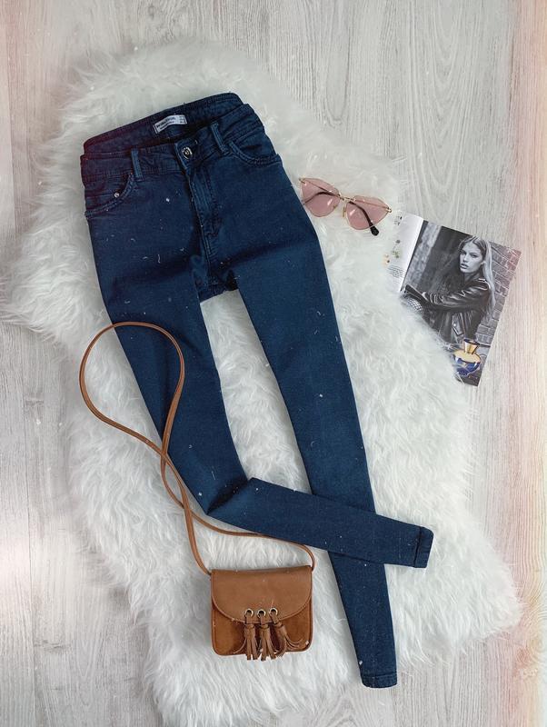 🌿 темно синие джинсы скинни bershka push up