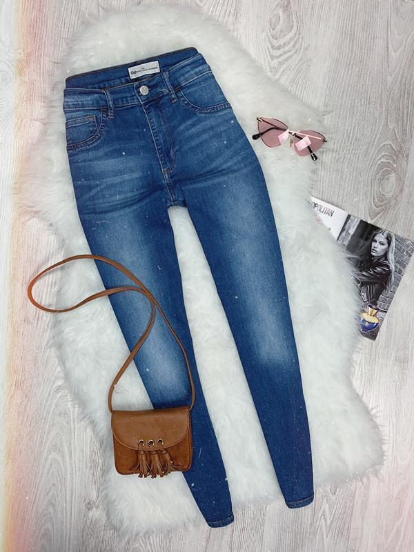 🌿 синие базовые джинсы скинни с высокой посадкой