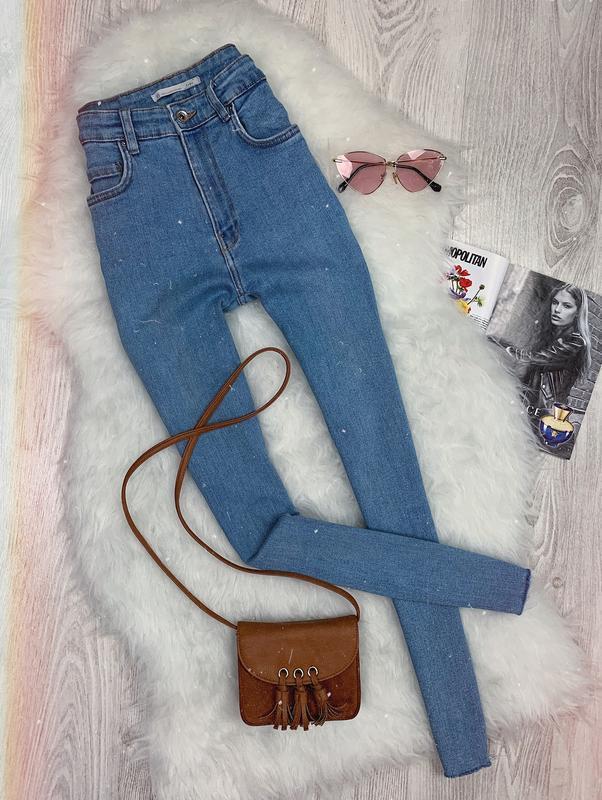 🌿 голубые базовые джинсы скинни zara с высокой посадкой