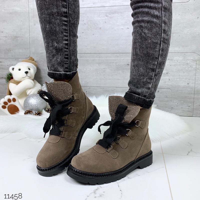 Зимние замшевые ботинки цвета каппучино, стильные зимние ботин...