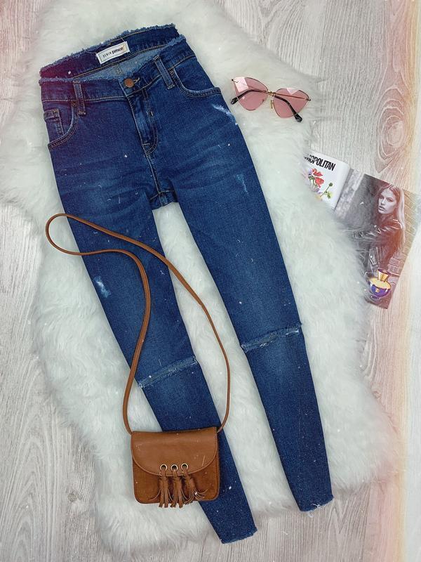 🌿 укороченные синие базовые джинсы с необработанным низом pimkie