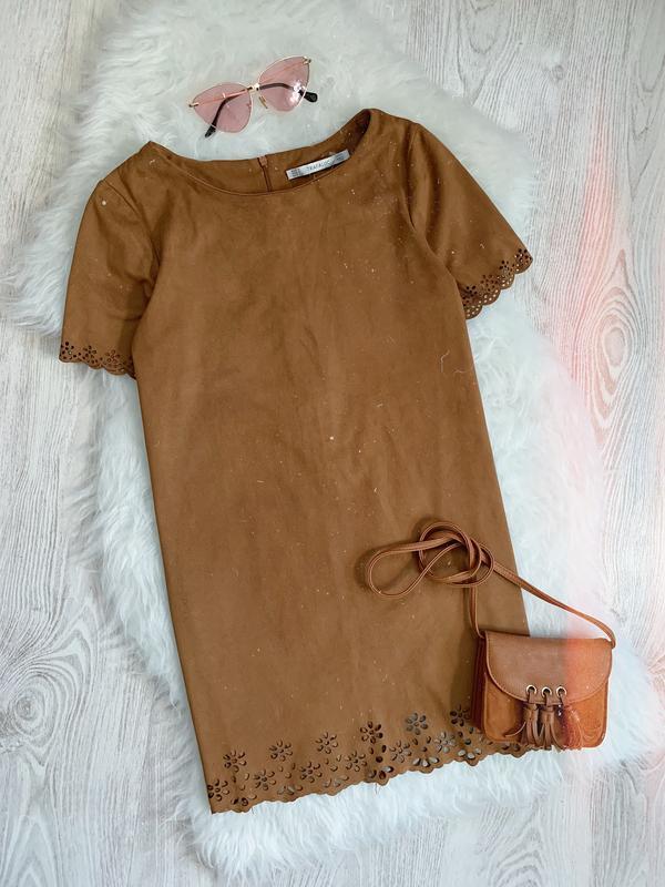 🌿 коричневое платье футляр под замш zara