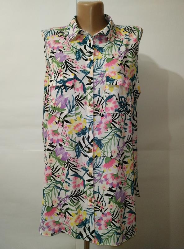 Легкая красивая цветочная блуза uk 16/44/xl