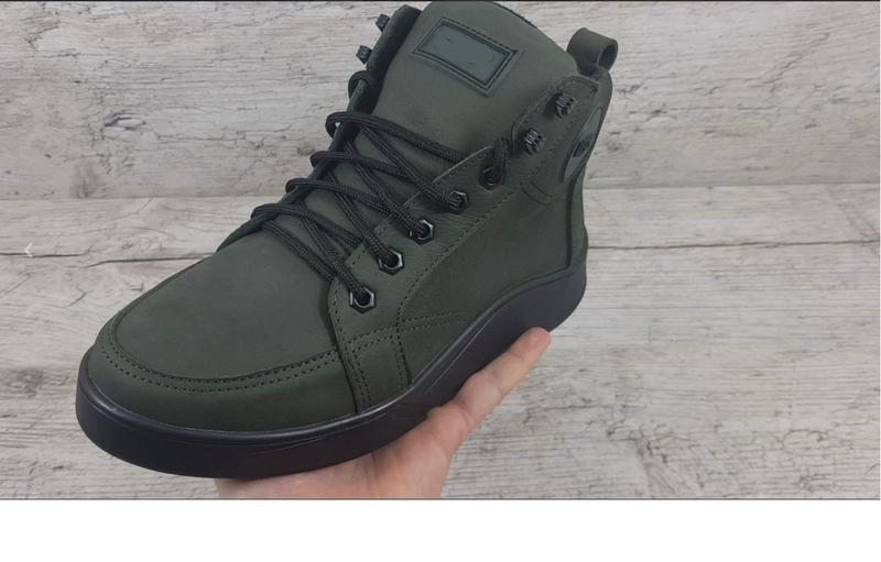 Мужские зимние кожаные ботинки g700 зел