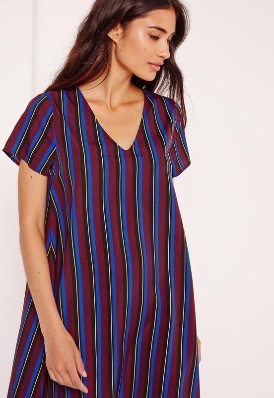 Полосатое сатиновое платье-трапеция с вырезом