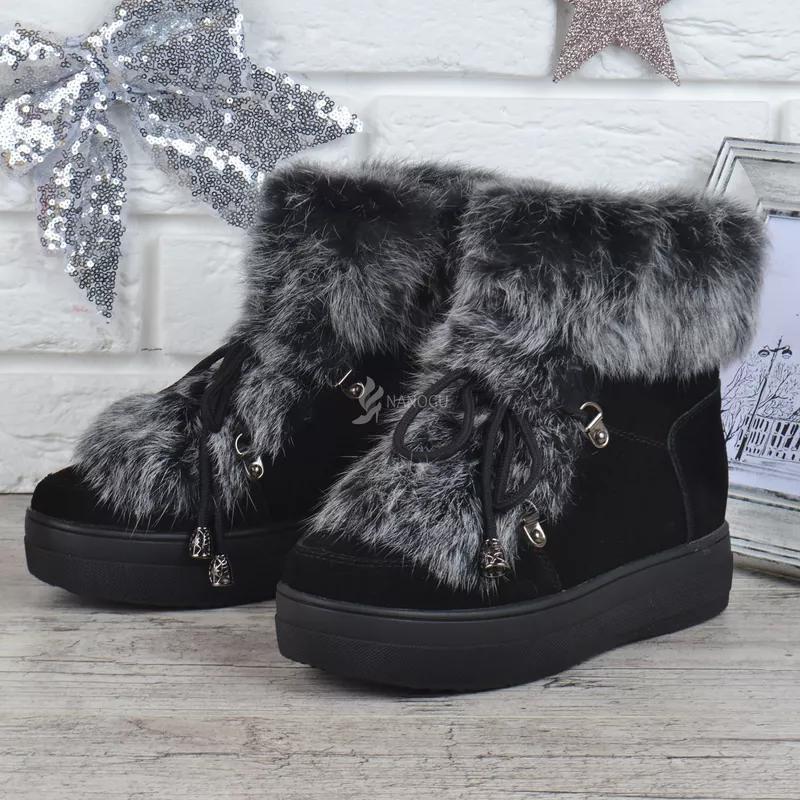 Ботинки женские зимние замшевые натуральный мех на платформе Ross