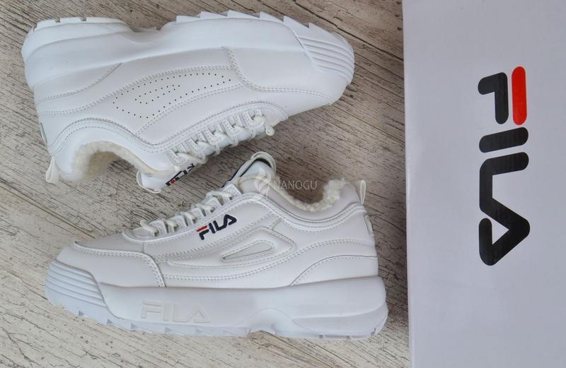 Кроссовки женские кожаные зимние Fila Disruptor 2 White белые - Фото 2