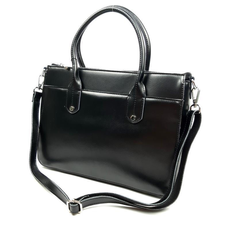 Большая женская кожаная сумка черного цвета