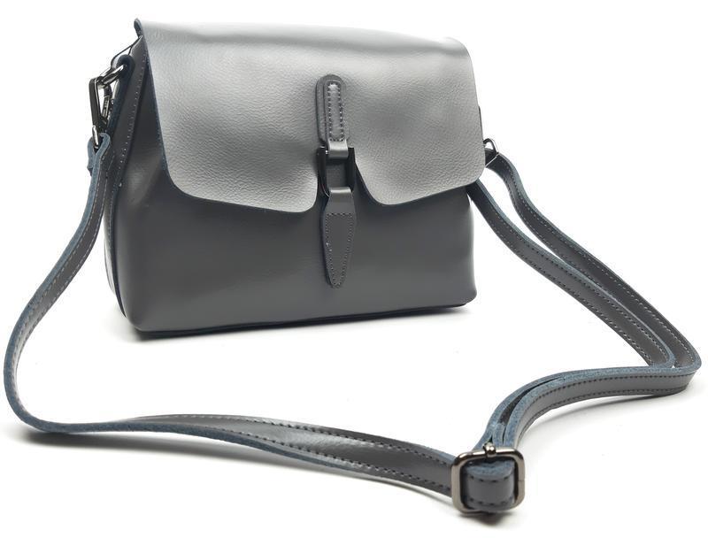 Женская сумка galanty серая из натуральной кожи - Фото 2