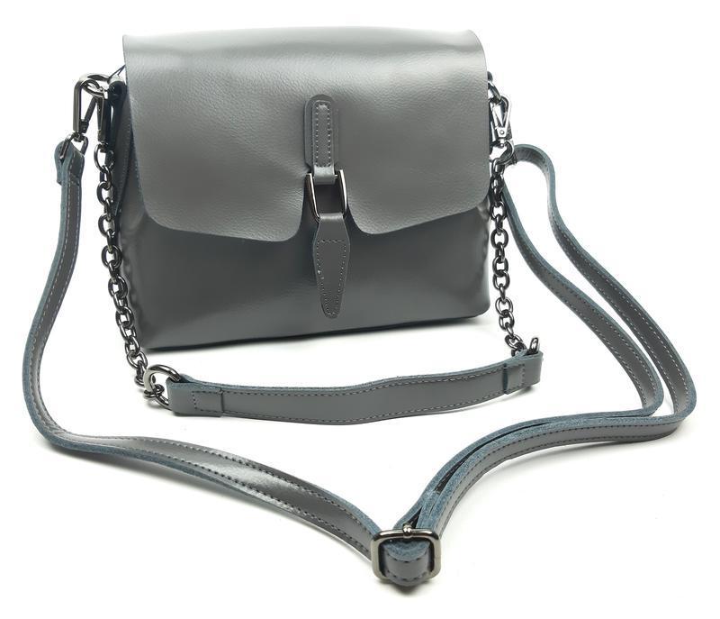 Женская сумка galanty серая из натуральной кожи - Фото 4