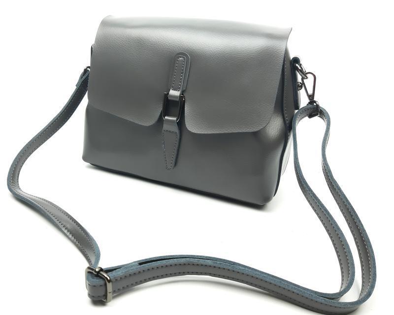 Женская сумка galanty серая из натуральной кожи - Фото 6