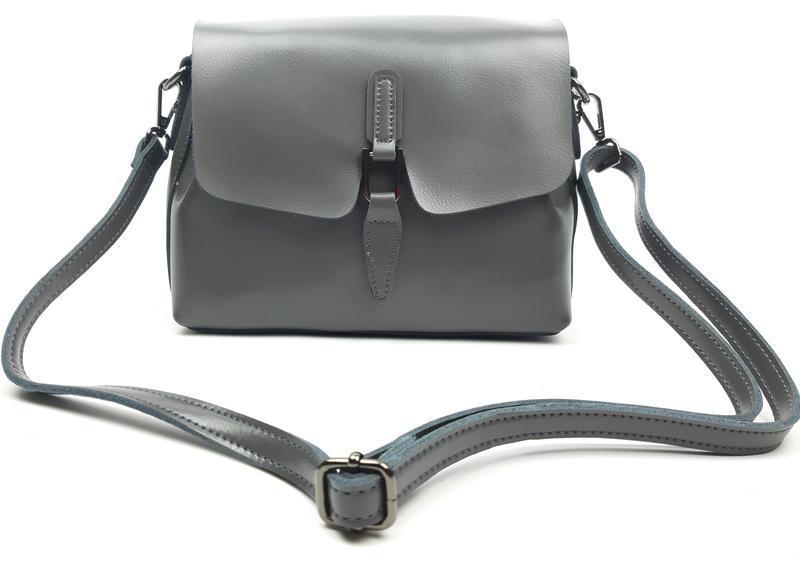 Женская сумка galanty серая из натуральной кожи - Фото 7
