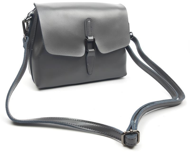 Женская сумка galanty серая из натуральной кожи - Фото 9