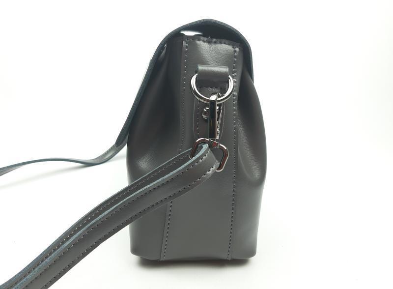 Женская сумка galanty серая из натуральной кожи - Фото 10