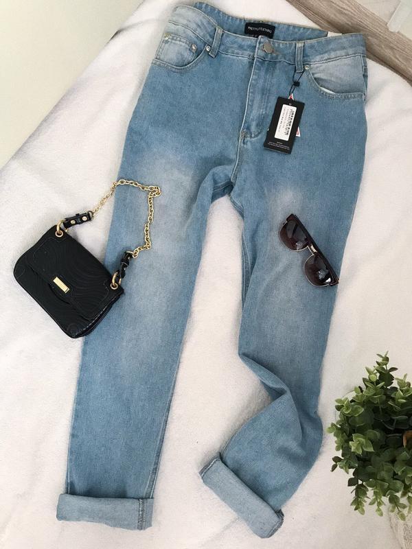 Мом джинсы pretty little thing plt с высокой посадкой