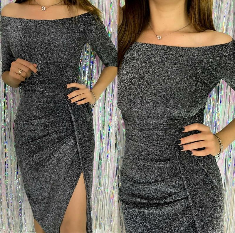 Блестящее платье-миди на плечи с иммитацией запаха, р-р s.