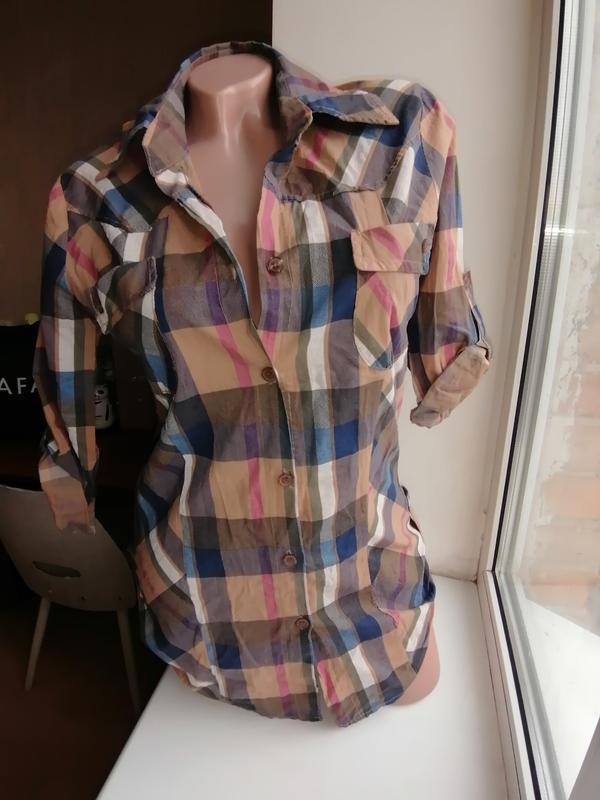 Натуральная рубашка в клетку италия рукав 3\4 удлиненная (к072)