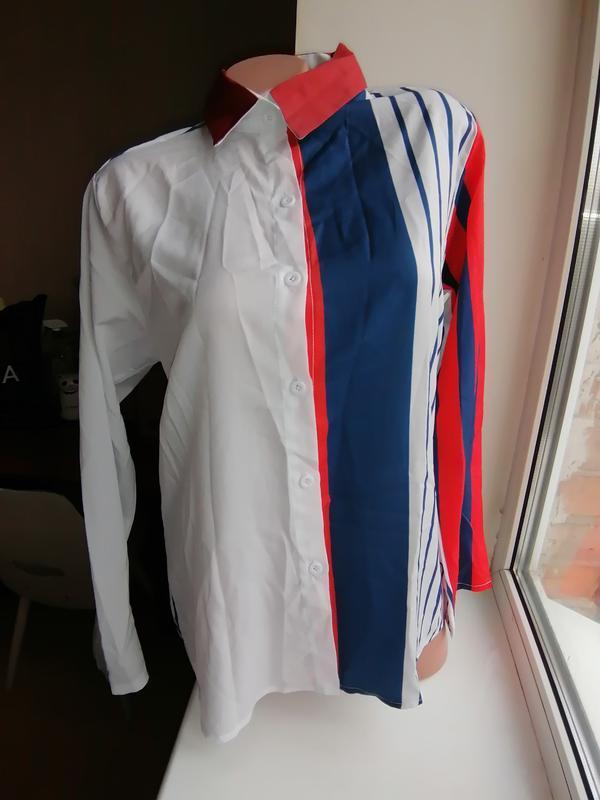 Трендовая легкая блузка\рубашка в полоску удлиненная спинка дл...